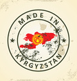 Stamp with map flag of Kyrgyzstan vector image vector image