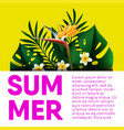summer holiday travel tropical palm poster vector image