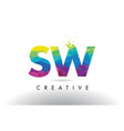 sw s w colorful letter origami triangles design vector image vector image