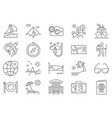 travel related line icon set vector image