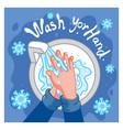 wash hand defance corona virus vector image vector image