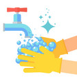 washing hand flat vector image