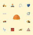 flat icons toolkit hoisting machine caution and vector image
