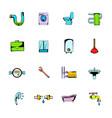 sanitary engineering comics icons set cartoon vector image
