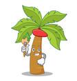 artist palm tree character cartoon vector image vector image