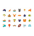 australia animal things famous sites icons set on vector image vector image