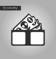 black and white style icon money in a purse vector image