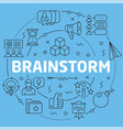 blue line flat circle brainstorm vector image vector image