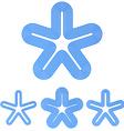Blue line star logo design set vector image vector image