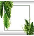 border template with green leaves and flowers vector image vector image
