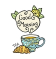 card with doodle cup tea and smoke vector image
