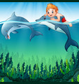 cartoon boy with dolphins in the sea vector image vector image