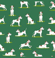 cartoon color funny puppy seamless pattern vector image