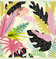 cartoon tropical leaves flat style vector image