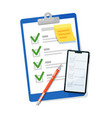 checklist clipboard and survey form on mobile vector image vector image