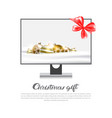 christmas gift template banner computer monitor vector image vector image