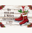 christmas greeting card with wintry vintage skates vector image vector image