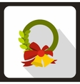 Christmas wreath with bell icon flat style vector image vector image