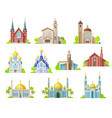 church mosque and temple religion buildings vector image vector image