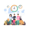 clock man woman cominicating punctuality concept vector image vector image