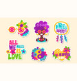 colorful retro hippie patches and emblems vector image