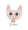 cute pink cat head vector image