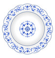 decorative porcelain plate ornate with blue vector image
