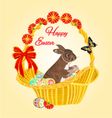 Easter bunny in a basket vector image vector image