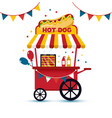 fast food hot dog cart and street hot dog cart vector image