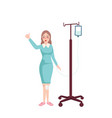 girl nurse standing holding infusion hanging vector image vector image