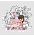 Girl with birthday cupcake background vector image