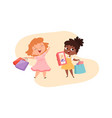 girls with gifts happy little princesses vector image