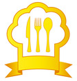 gold icon with chef hat and kitchen utensil vector image