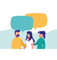 group of people talking characters vector image