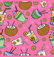 hand drawn seamless patterns summer coctails vector image vector image
