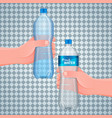 hand holds a plastic bottle vector image