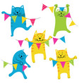 happy birhday cats set vector image