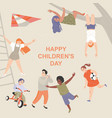 happy international children day greeting card vector image vector image