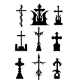Horror silhouettes of cemetery crosses set vector image vector image