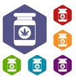 Jar of powder marijuana icons set vector image vector image