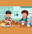 kids eating healthy breakfast vector image vector image