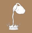 liquid cocoa drink pouring from jar making a vector image vector image