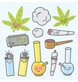 Marijuana kawaii cartoon objects pack vector image vector image