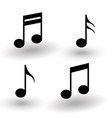 music note icon set black with shadow collection vector image