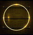 neon lamp circle frame on brick wall background vector image vector image
