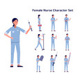 nurse woman character various poses and actions vector image vector image