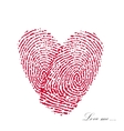 Pink fingerprint with heart on a white background