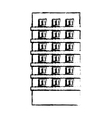 profile apartment building line sticker vector image vector image
