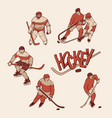 retro set hockey player and goalkeeper in sports vector image vector image