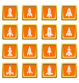 rocket icons set orange square vector image vector image
